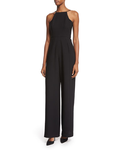 Square-Neck Tailored-Leg Jumpsuit, Black