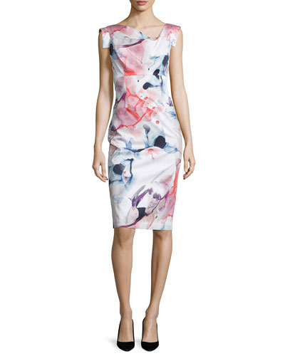 Cap-Sleeve Printed Sheath Dress