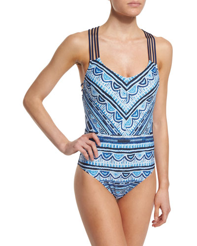Santorini Scallop Printed Strappy One-Piece Swimsuit