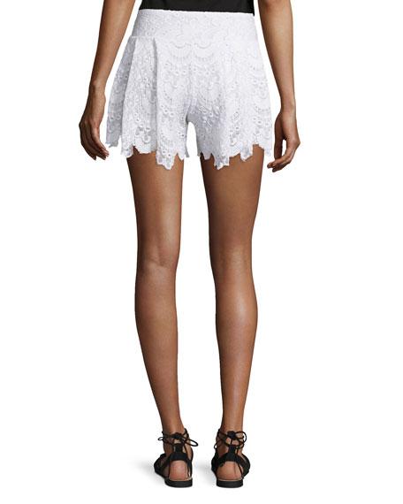 Spanish Lace Fan Shorts, White