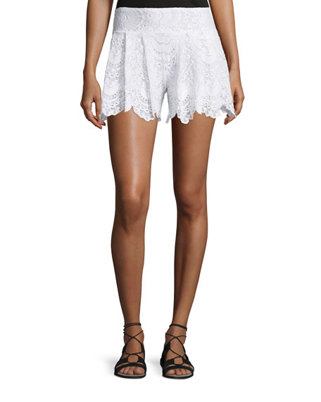Nightcap Clothing Spanish Lace Fan Shorts, White