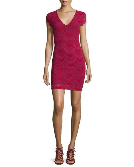 Nightcap Clothing Spanish Lace Cap-Sleeve Dress, Sangria