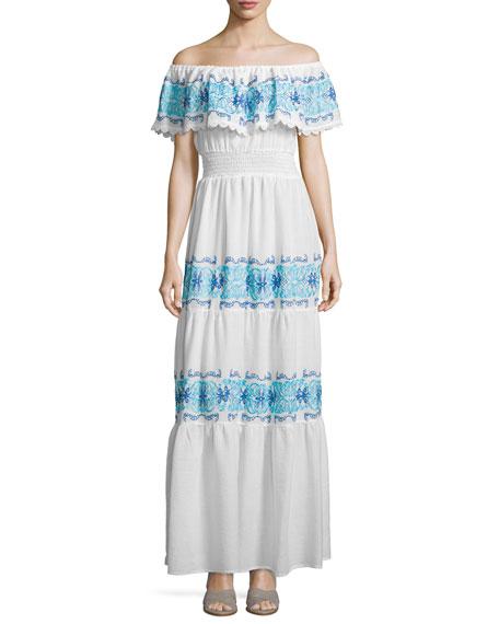 Nightcap Clothing Greek Isles Off-The-Shoulder Maxi Dress, White