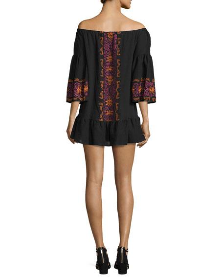 Santorini Off-The-Shoulder Embroidered Dress, Black