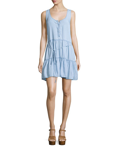 Noelle Sleeveless Tiered Dress, Light Vintage
