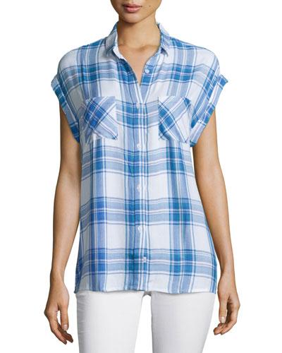 Britt Plaid Short-Sleeve Shirt, White/Blue/Lilac