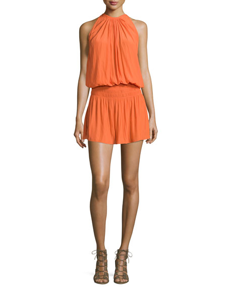 Paris Sleeveless Jewel-Neck Mini Dress, Tiger Lily