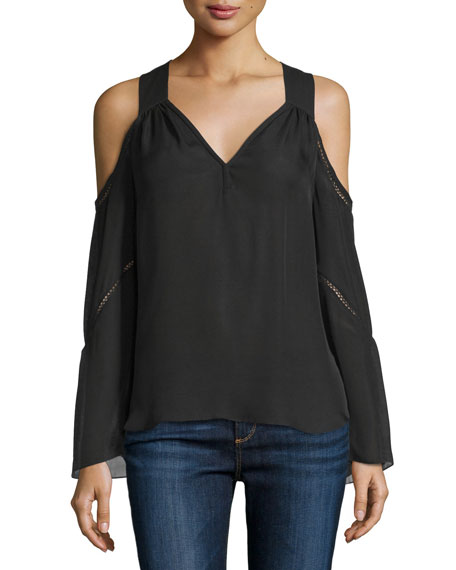 Ramy Brook Gemma Cold-Shoulder Pointelle-Trim Top, Black