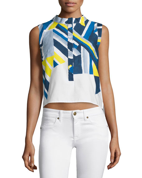 Milly Sleeveless Inkblot Printed Top, Citron