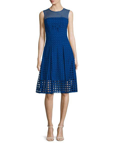 Milly Sleeveless Square-Eyelet Cotton Dress, Cobalt