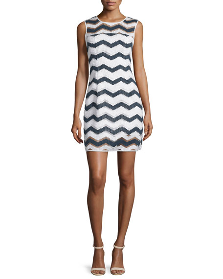 Milly Sleeveless Chevron Shift Dress, Navy/White