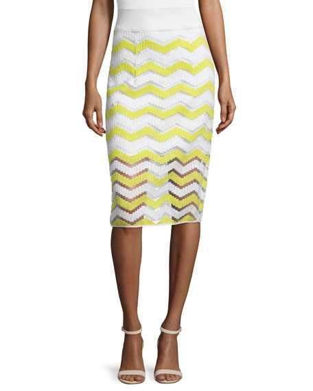 Milly High-Waist Chevron Pencil Skirt, Citron/White
