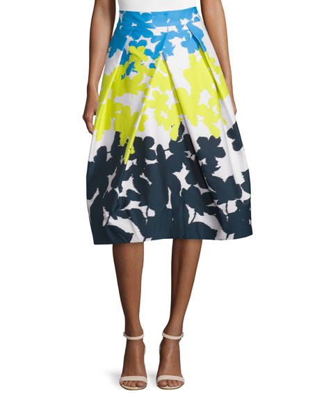Milly Clarisa Floral-Print A-Line Skirt, Multi Colors
