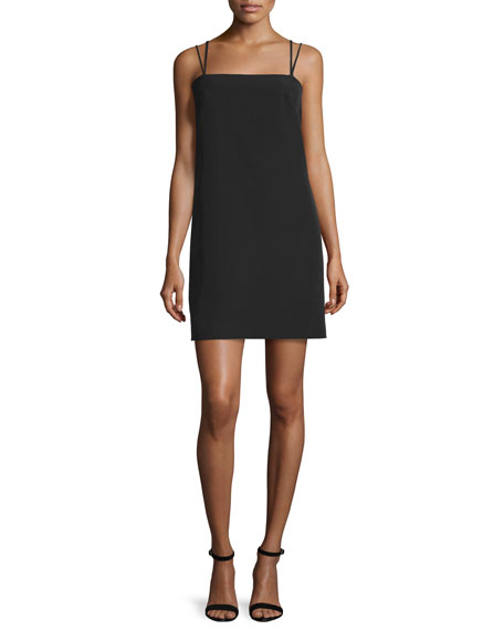 Milly Strappy Seamed Shift Dress, Black