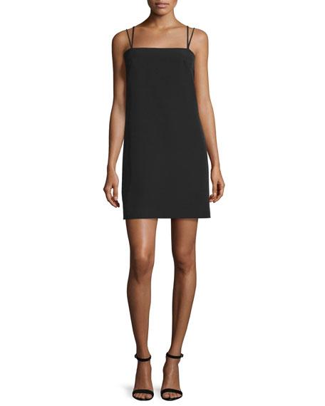 Milly Strappy Seamed Shift Dress, Black