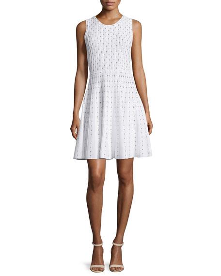 Milly Dot-Print Fit-&-Flare Dress, Ivory/Black