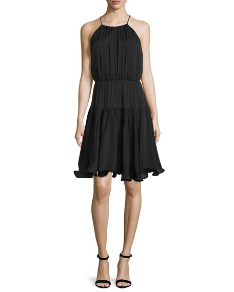 Milly Madison Sleeveless Tiered Sundress, Black
