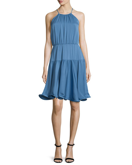 Milly Madison Sleeveless Tiered Sundress, Steel Blue