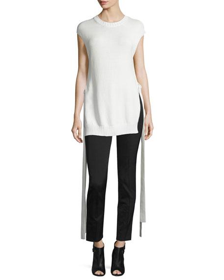 JosephCap-Sleeve Knit Ribbon-Trim Top, Off White