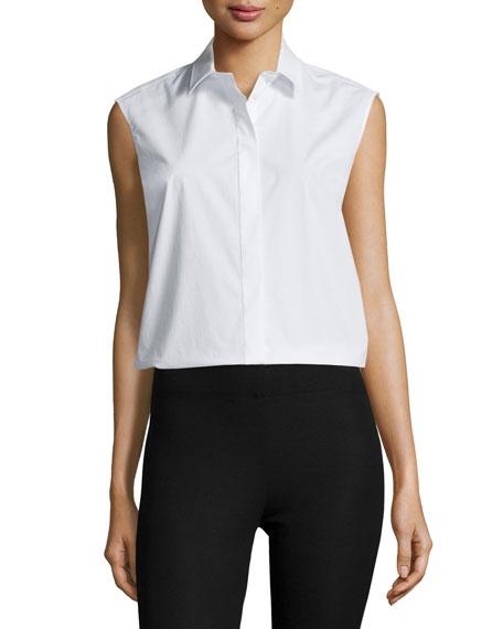 Joseph Sleeveless Collared Poplin Shirt, White
