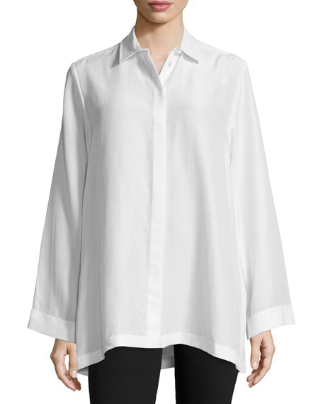 Joseph Olly Button-Front Silk Oversized Blouse, Off White