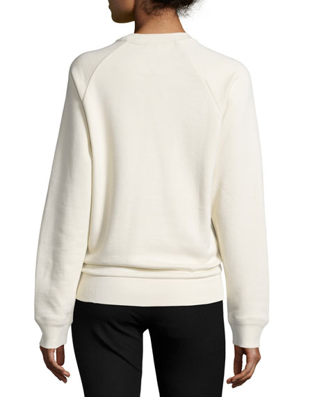 Knotted Cotton Raglan Sweatshirt, Ecru