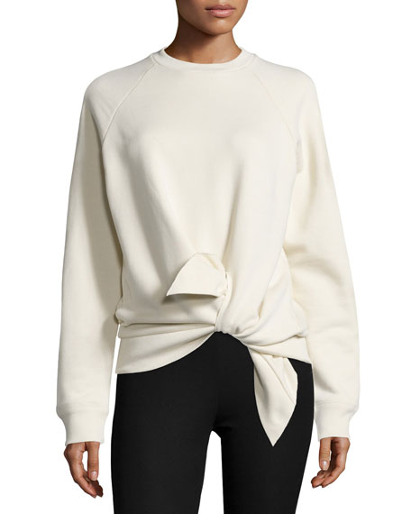 Joseph Knotted Cotton Raglan Sweatshirt, Ecru