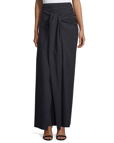 Joseph Silvie Tie-Front Poplin Maxi Skirt, Black