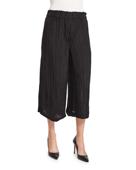 JosephCrinkled Wide-Leg Gauze Pants, Black