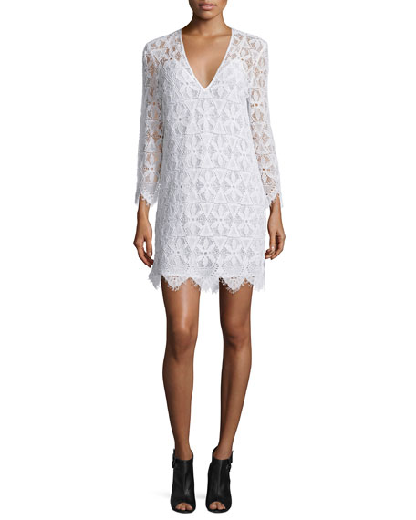 FRAME Lace Long-Sleeve Sheath Dress, Blanc