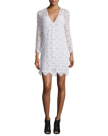Lace Long-Sleeve Sheath Dress, Blanc