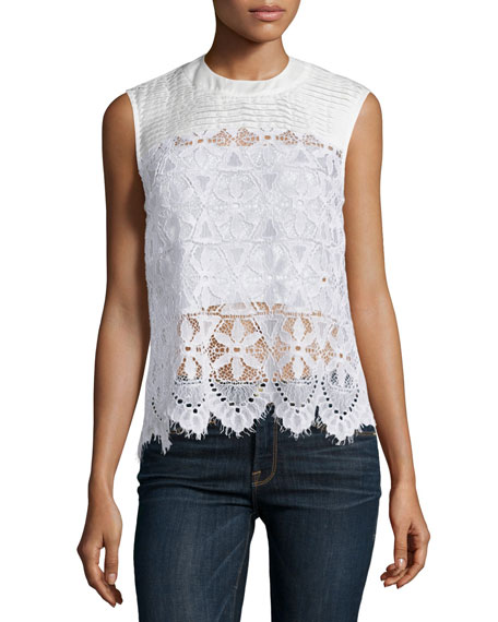 FRAME DENIM Le Lace Sleeveless Top, Blanc
