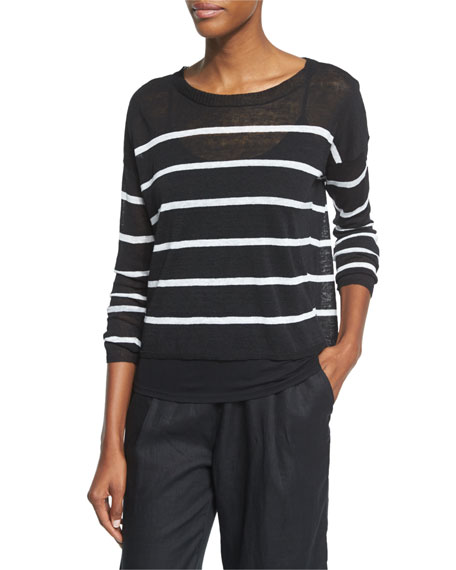 Eileen Fisher Long-Sleeve Striped Linen Crop Top, Black/White