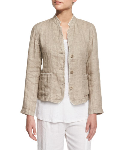 Linen Button-Front Jacket with Raw Edges