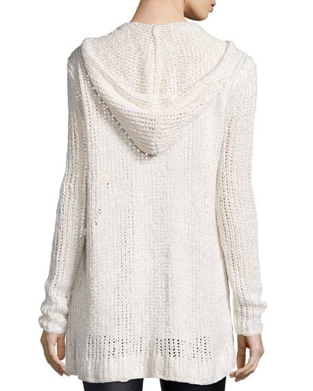 Hooded Oversize Button-Front Cardigan Sweater, Cream