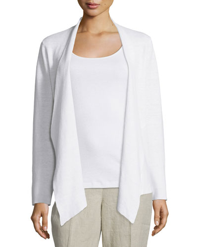Angled-Front Organic Linen Jacket Compare Price