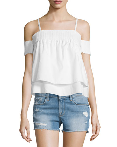 Pia Cold-Shoulder Layered Top, Chalk