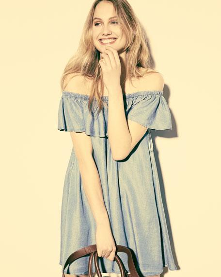 Dev Off-The-Shoulder Ruffle Dress, Light Denim Blue