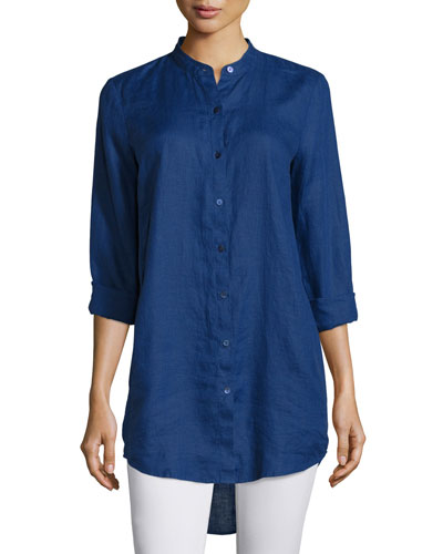Organic Linen Long-Sleeve Tunic, Petite