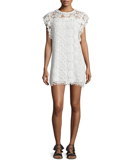 Tularosa Elba Butterfly-Sleeve Lace Shift Dress, Chalk