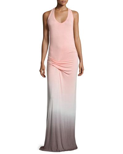 Hamptons Racerback Ombre Maxi Dress, Melon Ombre