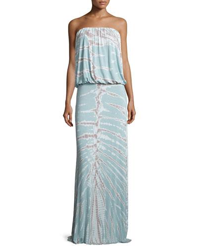 Sydney Strapless Tie-Dye Maxi Dress, Seafoam Radical
