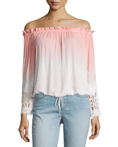 Young Fabulous and Broke Lela Ombre Off-The-Shoulder Top, Melon Ombre