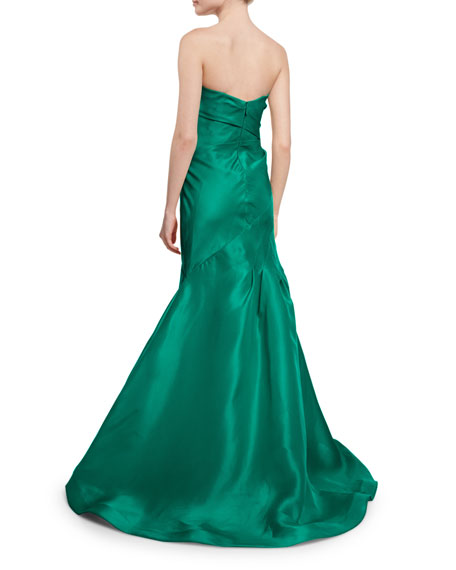 Strapless Ruched Mermaid Gown, Emerald