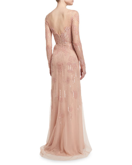 Long-Sleeve Embellished Charmeuse Column Gown, Light Pink