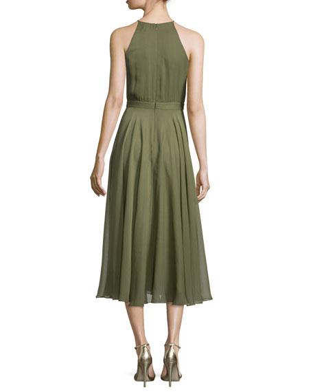 Halter-Neck Shirred Midi Dress, Willow