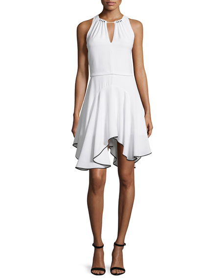 Halston Heritage Sleeveless Contrast Flounce-Hem Dress, Chalk/Black