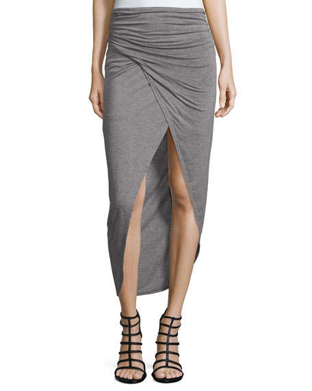 Alice + Olivia Tiana Ruched Midi Skirt, Heather