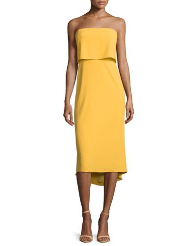 Strapless Popover Midi Dress, Marigold