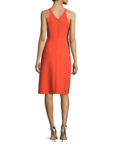 Sleeveless V-Neck Sheath Dress, Grenadine
